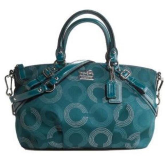 Coach Handbags - 🌿Coach Madison Teal Op Art Sophia 🌿